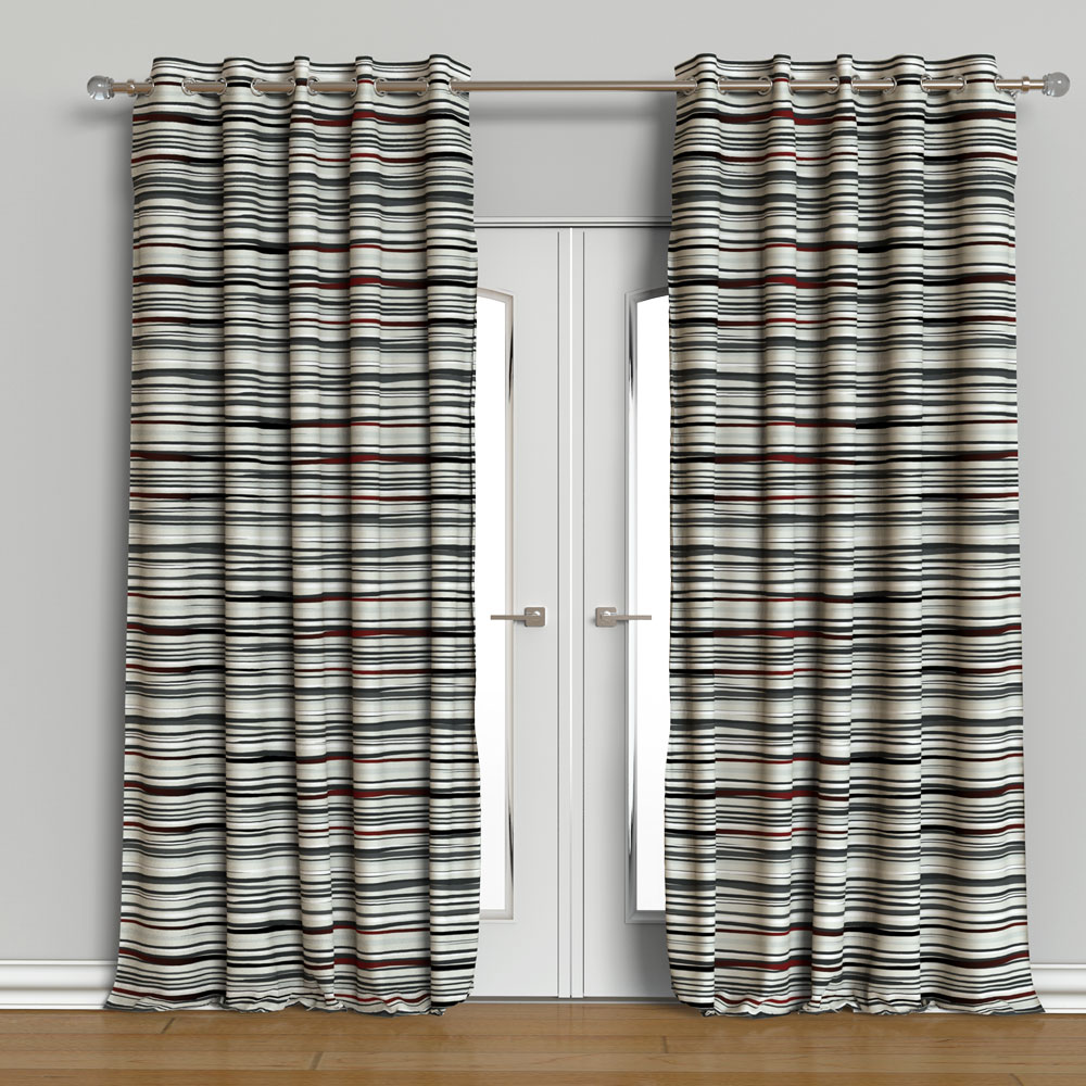 Wave Blackout Curtain Set of 2 Contemporary Printed 9 feet